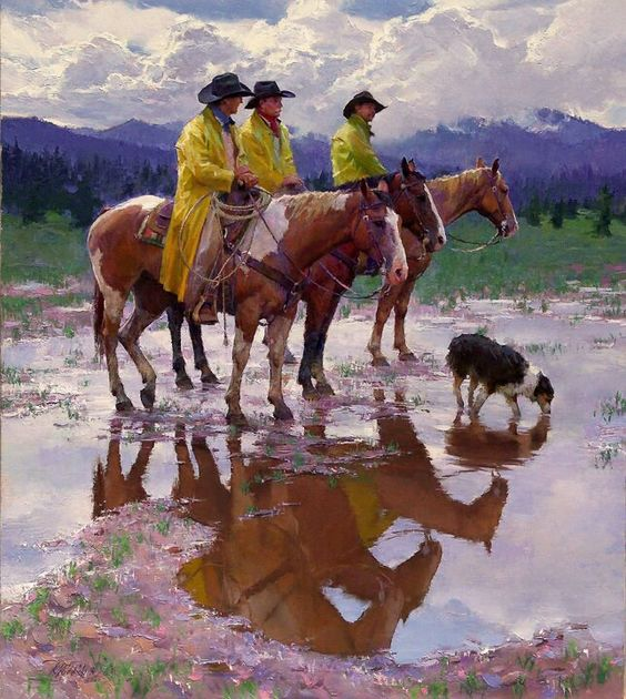 """Horses"" by western artist Tim Cox - this looks like a photo!!"