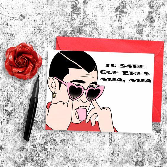 Bad Bunny Valentine S Day Card Bunny Valentines Valentines Day Card Funny Bunny Painting