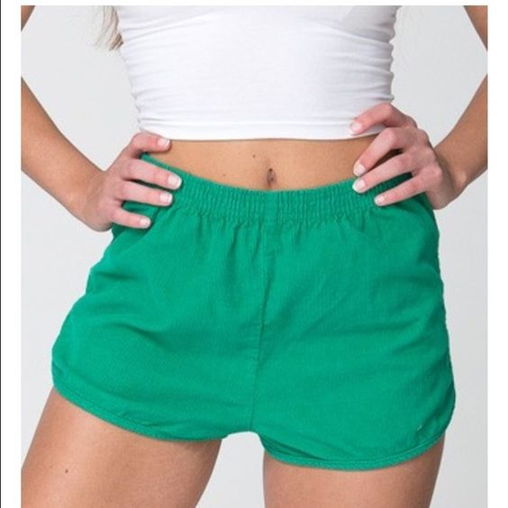 Corduroy Shorts from American Apparel Casual shorts made in structured Corduroy with a comfortable elastic waistband, fitting at the natural waist. American Apparel Shorts