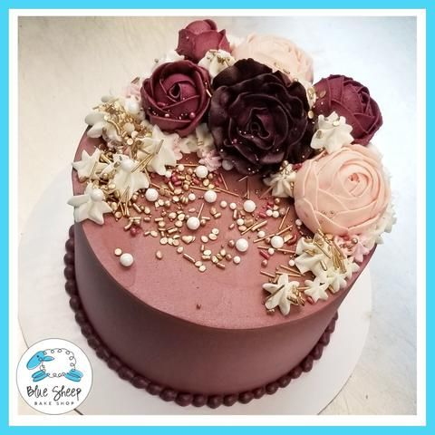 Super Burgundy Buttercream Floral Cake Buttercream Birthday Cake 19Th Birthday Cards Printable Opercafe Filternl
