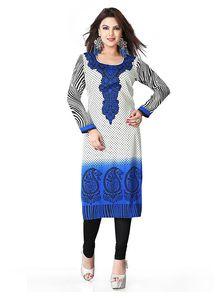 Incredible Straight Kurti in Crepe Silk & Blue Color