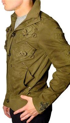 "Men's J. Steger - ""BUNKER"" Army Green Jacket"