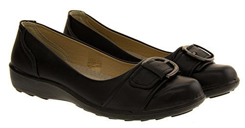 Annabelle Miley Womens Faux Leather Ballerina Shoes Ladies Low Wedge Pumps - [UK & IRELAND]