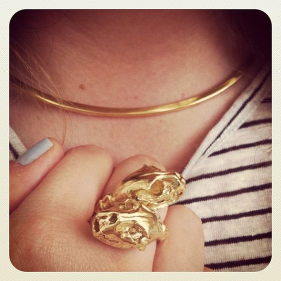 Excited about my new Jennifer Fisher goodies! Wearing the thin gold neck cuff + panther skeleton ring!