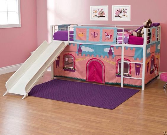 girls 39 princess castle twin loft bed with slide and royal curtain this this is a children 39 s loft. Black Bedroom Furniture Sets. Home Design Ideas