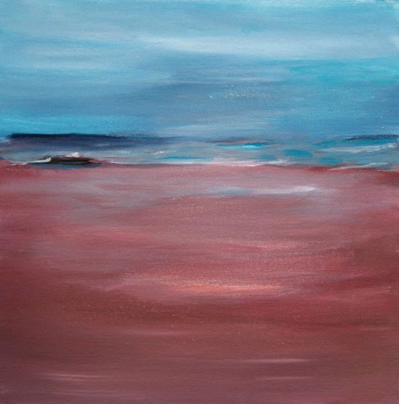 Red Blue Abstract Seascape Painting Abstract by PuzzledbyArtmondo