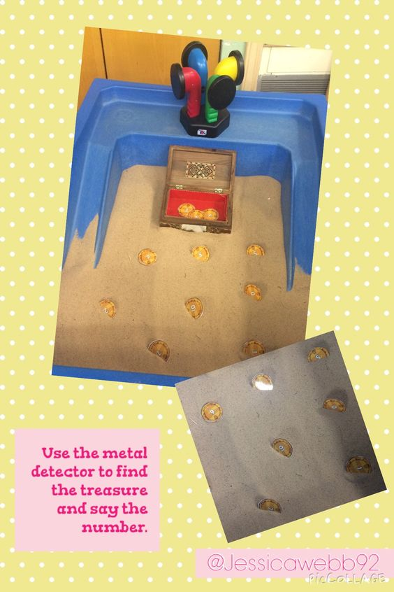Use the metal detector to find the treasure and read the number. EYFS