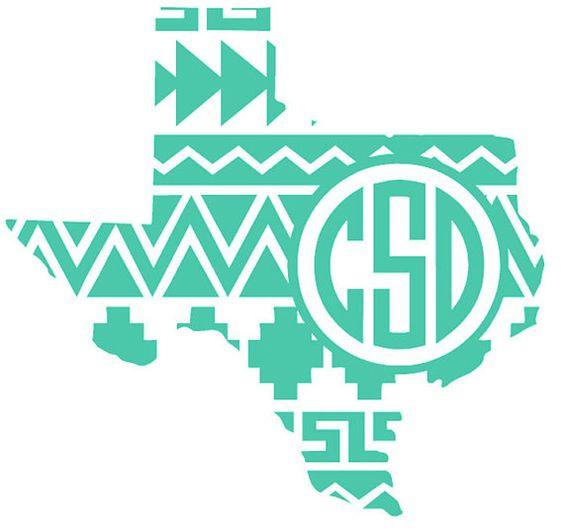 Aztec Texas Monogram Decal By Courtscutsandcrafts Decals