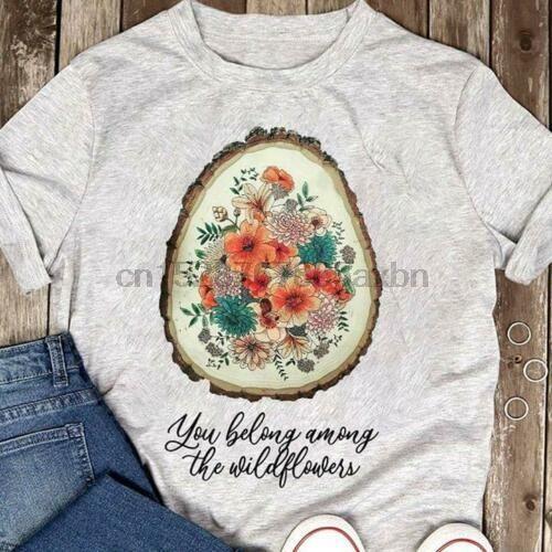 You Belong Among The Wildflower Hippie T-Shirt Funny Black Cotton Tee Gift Men