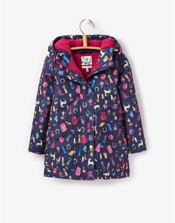 JNR MERIWEATHER Girls Horse Print Waterproof Coat | Kids clothes
