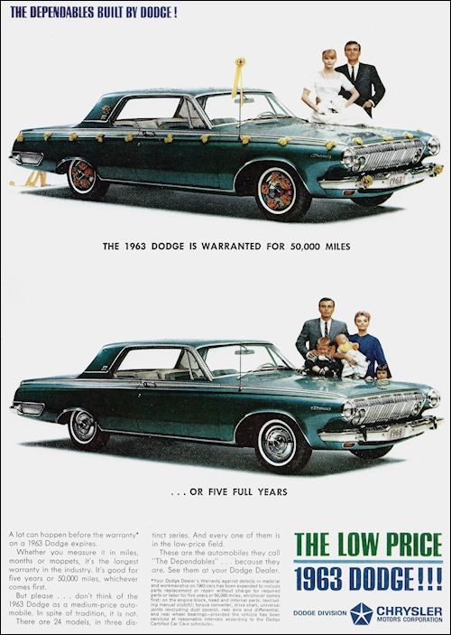 Dodge 1963 5 Year Factory Warranty Periklanan Mobil Budaya