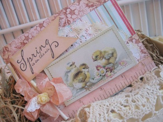 shabby chic EASTER baby chicks SPRING is in the AIR stitched handmade card