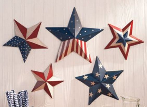 Painted Metal Star Wall Decorations