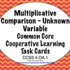 Multiplicative comparisons sounds hard in the Common Core, but this set of 24 self checking task cards makes is a piece of cake! The cards focus on CCSS 4.0A.2 (Multiplication and Division Equations with and Unknown Variable). $1.50
