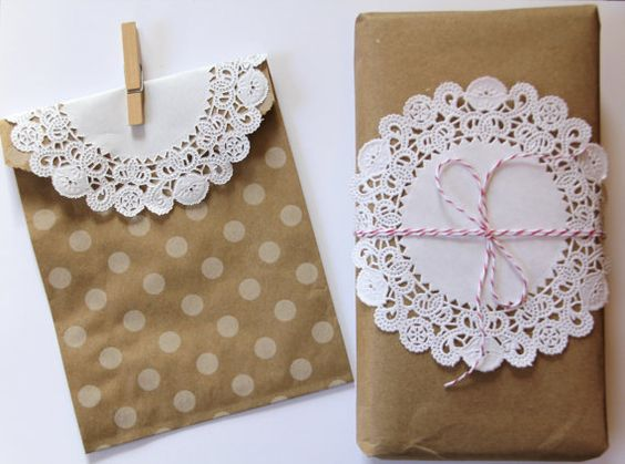 Craft gift wrap  polka dot treat bags with white paper doilies