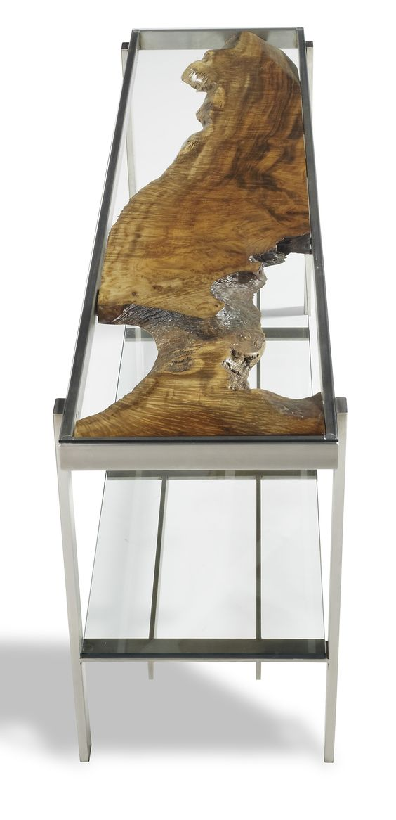 Single Slab Of Curly Myrtle Under Glass Top Sofa Table