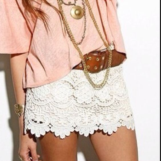 Loving the lace scalloped skirts/shorts this spring