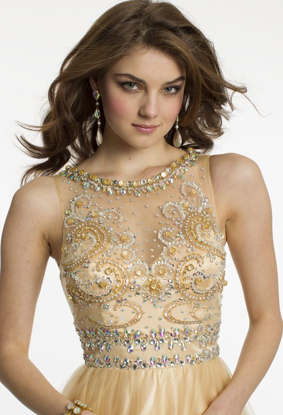 Illusion Neckline Ball Gown Prom Dress by Camille La Vie