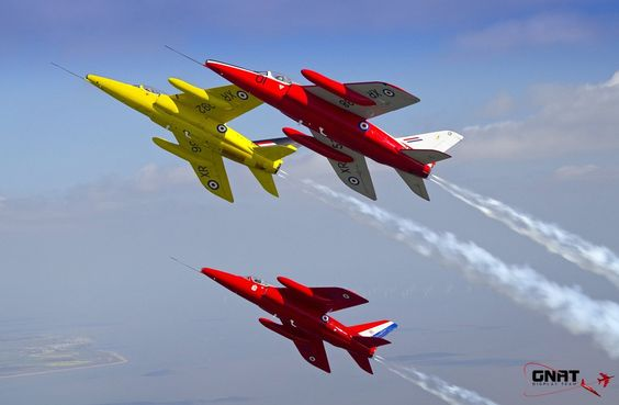 Gnat Display Team Folland Gnats. Former RAF trainer and fighter version served with Finnish and Indian Air Forces.