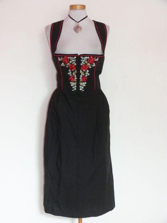 Damen Trachten Balkonett Dirndl Größe 52 Farbe Schwarz Bestickt in Kleidung & Accessoires, Damenmode, Trachtenmode | eBay