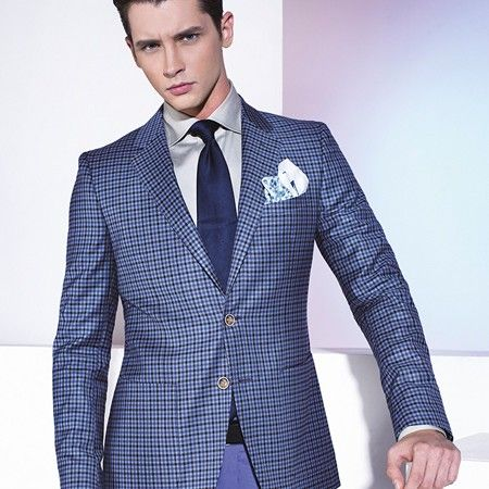 bold blue checkered plaid suit jacket | Black and Blue Check