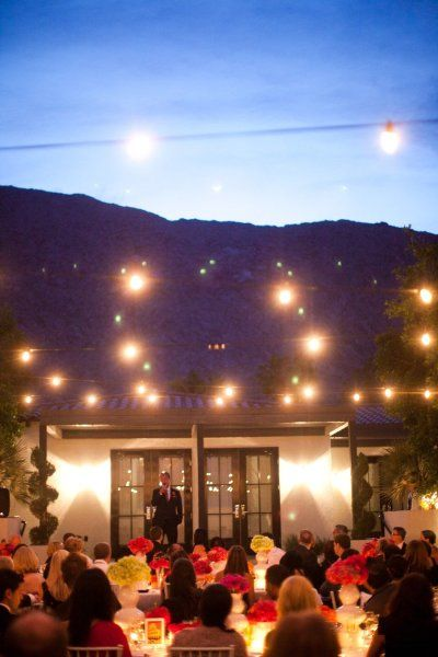 Outside night reception with hanging lights