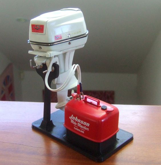 Johnson 1960 Toy Outboard Motor With Gas Tank Battery And