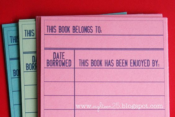 Printable library cards! These are absolutely going in all the book I lend out :)