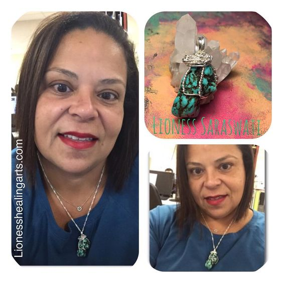 This beautiful update came in from @irisclarisa so happy see in  #turquoise #wrapped #pendant  You look so cute in your scrubs  #healingarts  #healingcrystals #crystals #crystaljewelry #healing #art #supportthehandmade #Lionesshealingarts #crystalhealing #crystalwrapped #jewelry #mycreativemess #wirewrap  #earthmagic #madewithlove  #starseed #crystalhealing  #gemstones #jewelrydesigner #supportthearts #handmade  #infusedwithlove