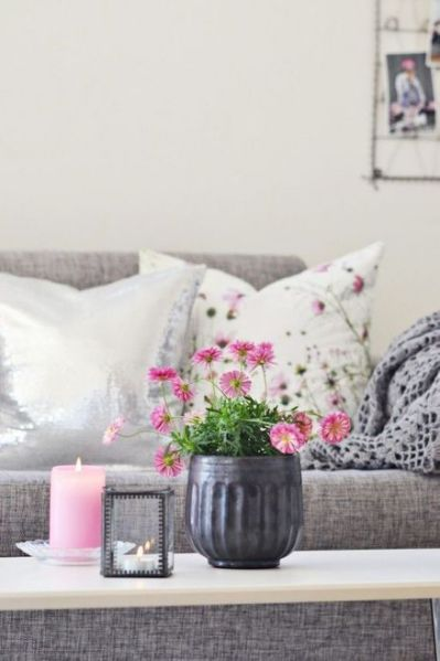 grey, pink and white living room