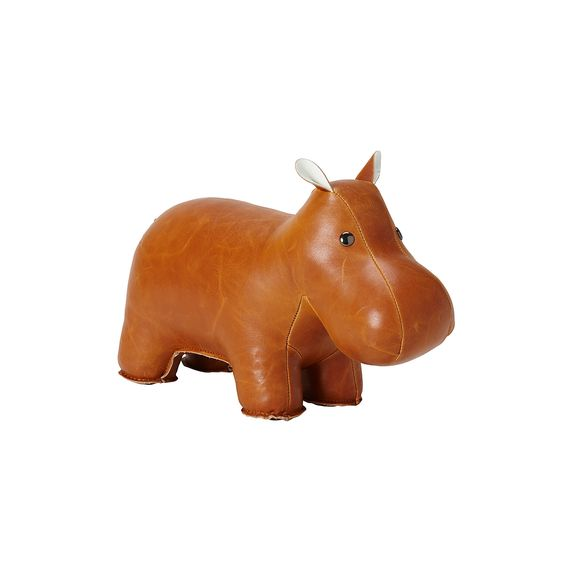 Cognac Leather, Hippo Bookend
