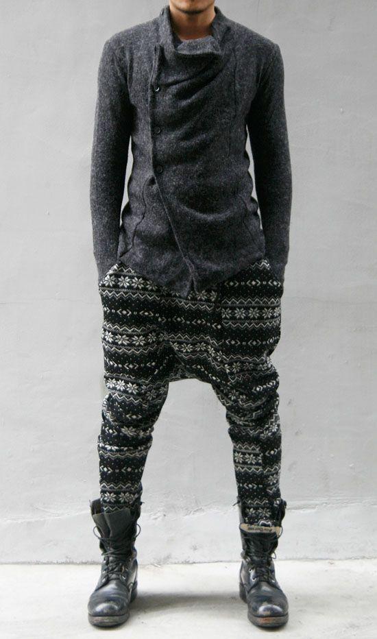 Mens fashion Harem pants; Drop crotch tribal print pants.