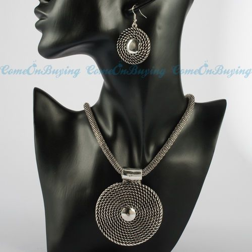 Retro Vintage Silver Chain Round Pendant Necklace Dangle Earrings Set S660 #new