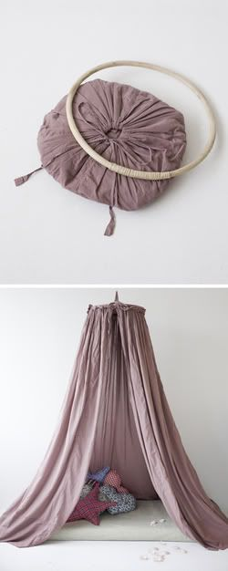 diy hideout circular canopy - hang above crib, bed, or just a nice spot with pillows on the floor. Haven't looked at the tutorial yet, but I hope the thing folds in on itself for storage, because it totally could...