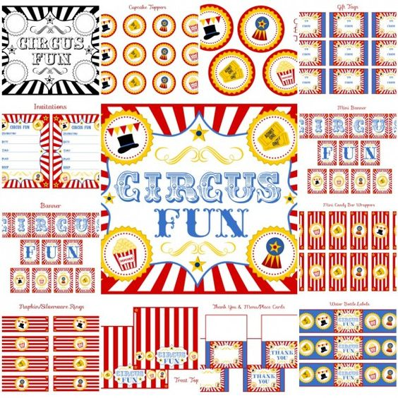 circus party free printables @Danielle Ray I don't know if you need these, but just in case...