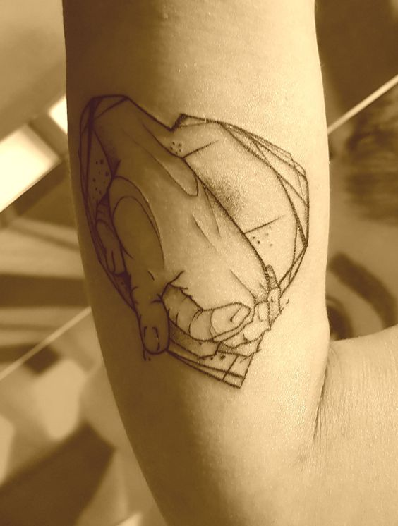 Hands And Heart Line Work Tattoo Anansi Munich Germany