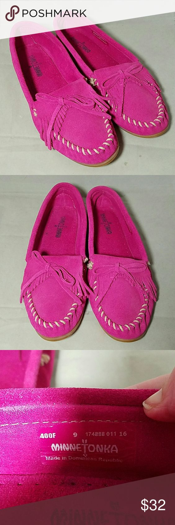 MINNETONKA Sz 9 Hot Pink Suede Moccasin Flats Brand: Minnetonka  Item: *Size 9 Hot Pink or Fuschia Slip On Moccasins Flats *Suede Material *Cream Stitching *Fringe & a Bow on Top of Each Foot  Color: Hot Pink & cream  Size: 9  Condition: Worn just a few times, excellent pre-loves condirion Minnetonka Shoes Moccasins