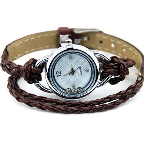 Uhr Armbanduhr Armband Armreif Glücksbringer Strass Damenuhr Braun