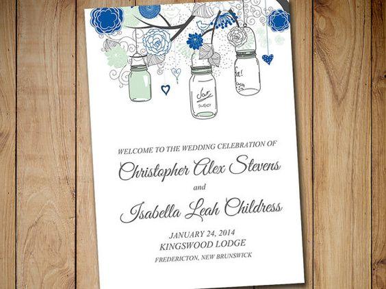 "Fold Over Wedding Program Template ""Mason Jar"" Horizon Blue Mint Charcoal Gray Program Order of Service Half Fold Program Printable Wedding by PaintTheDayDesigns"