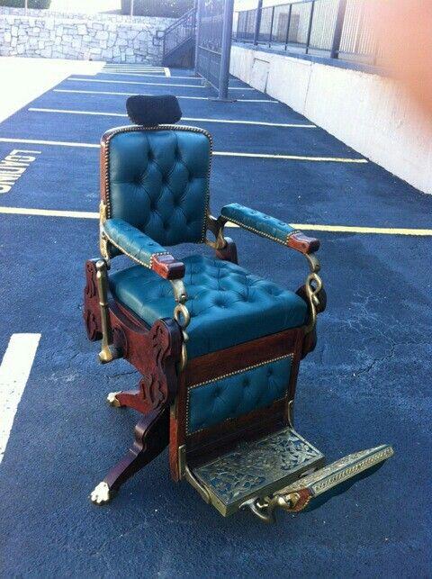 Avail chairs antique barber chair restoration chrome porcelain upholstry parts repair - Deco klassiek koken ...