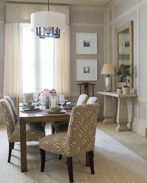 light grey-blue walls, cream curtains, light color furniture ...