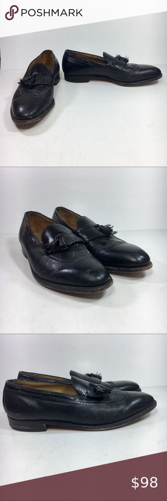 Johnston Murphy Aristocraft Men 15 Tassel Loafers Johnston Murphy Aristocraft Men 15 D Black Kiltie Tassel Wing Tip Loafer Shoes Preowned in okay condition with moderate scuffing around the toe area of the shoes and on the back of the heels. Johnston & Murphy Shoes Loafers & Slip-Ons