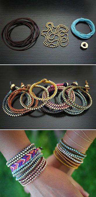 ball chain and colored hemp bracelet
