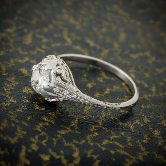 An amazing and stunning 0.75ct Old Mine Cut Diamond Engagement Ring. A rare antique engagement ring. WOW!
