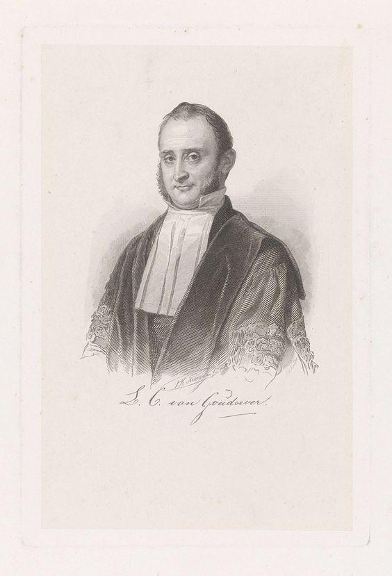 Johann Wilhelm Kaiser (I) | Portret van Louis Christiaan van Goudoever, Johann Wilhelm Kaiser (I), 1823 - 1900 | Portretbuste van hoogleraar Louis Christiaan van Goudoever, met vierkante kraag en bakkebaarden.