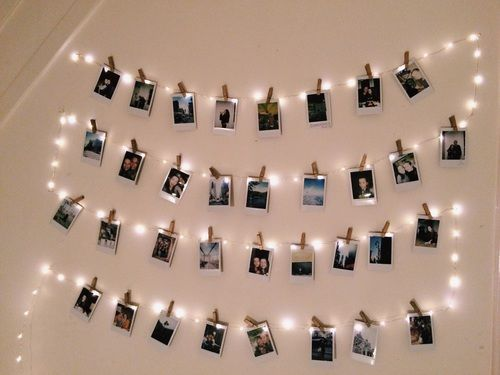 Polaroid Wall On We Heart It Fairy Lights Bedroom Photo Walls Bedroom Copper Wire Lights