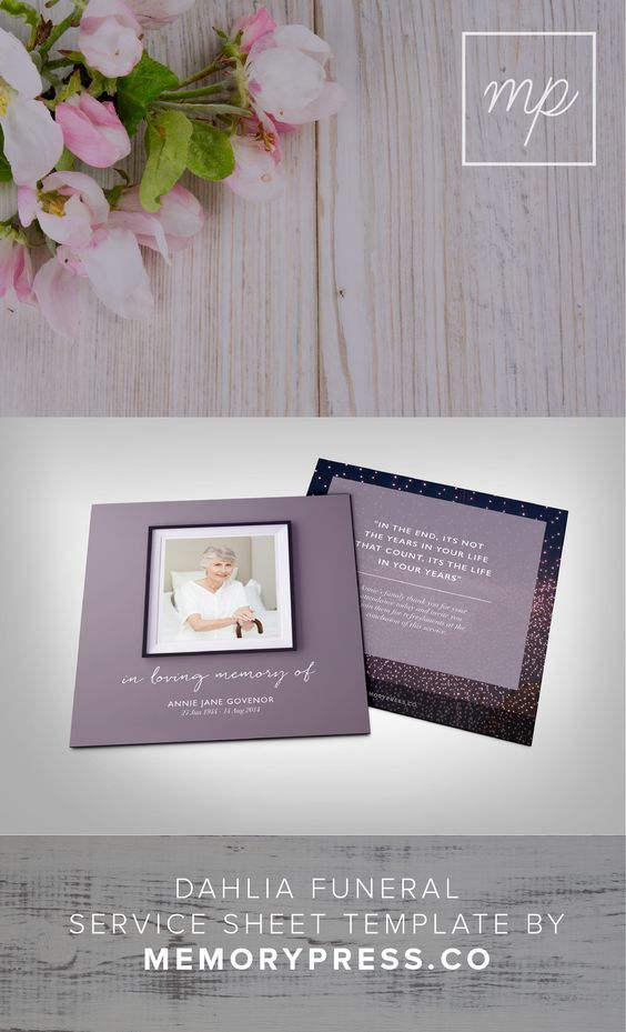 Funeral dahlias and memorial service program on pinterest for Funeral service sheet template