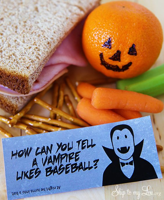 Make the whole month of October fun with these Halloween Lunch Box Notes. The Halloween jokes are silly and sure to get a giggle from your child.  Download and print the Halloween Jokes in color on white cardstock. Cut them apart and you will be ready to slip them into your child's lunch. Halloween Lunch Box Jokes Free Printable