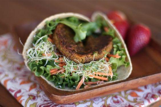 Veggie Burger Wrap via @aggieskitchen