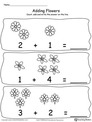 Adding Numbers With Flowers - Sums to 5 | Pictures of, Pictures ...